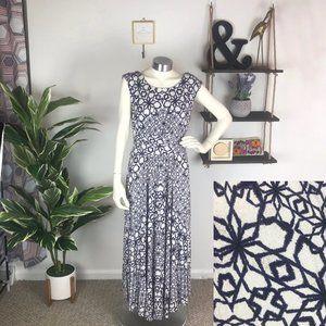 Maeve Anthro Blue Pattern Mallorca Maxi Dress